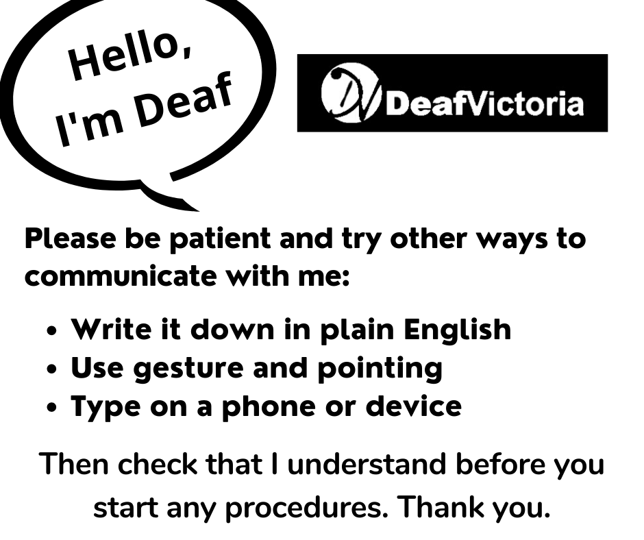Deaf Victoria - Mask Graphic for Deaf - BW #2 card