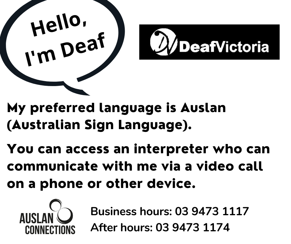 Deaf Victoria - Mask Graphic for Deaf - BW #3 card