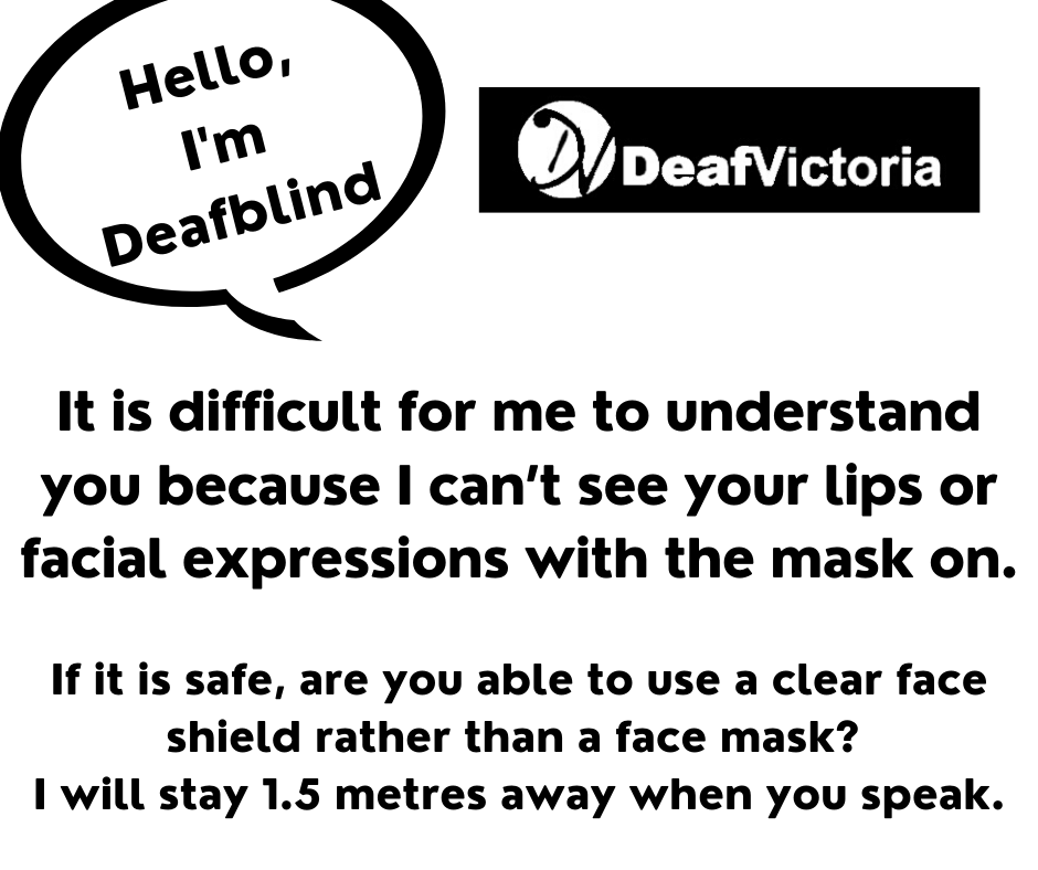 Deaf Victoria - Mask Graphic for Deafblind - BW #1 card