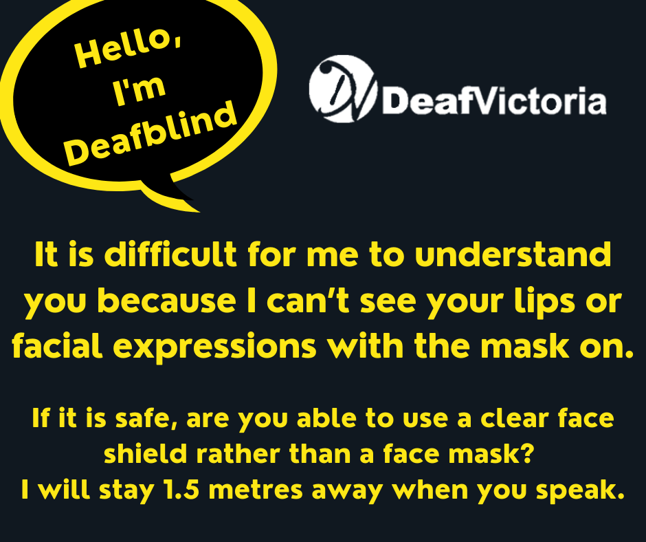Deaf Victoria - Mask Graphic for Deafblind - Yellow #1 card