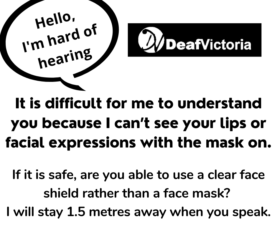 Deaf Victoria - Mask Graphic for Deafblind - BW #3 card