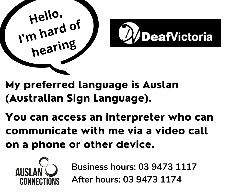 Deaf Victoria - Mask Graphic for Deafblind - BW #2 CARD